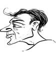 man profile caricature sketch vector image vector image