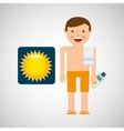 man shorts towel beach vacations sun vector image vector image