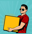 man with box in his hands retro comic pop art vector image