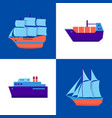 marine collection of ship icons in flat style vector image