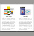 medication and pharmacy items vector image
