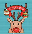 merry christmas nose deer greeting card vector image vector image