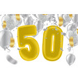 number 50th anniversary birthday balloon isolated