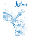 Outline Lisbon city skyline with blue buildings vector image vector image