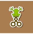 paper sticker on stylish background Kids toy frog vector image vector image