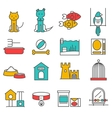 Pets Line Set vector image vector image