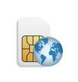 realistic sim card with planet vector image vector image