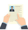 recruitment concept hands hold cv profile vector image