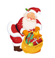 santa claus holding a sack with toys christmas vector image