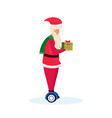 santa claus ride electric scooter hold gift box vector image vector image
