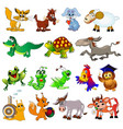 Set cartoon animals with cow sheep rabbit
