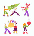 set of people carrying vector image vector image