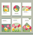 set with six floral romantic templates tulips vector image