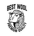 sheep wool factory emblem template sheep head vector image vector image