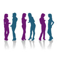 silhouettes girlfriends talking to each other vector image vector image