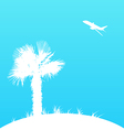 Summer background with palm tree and airplane vector image vector image