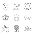 sweet fennel icons set outline style vector image
