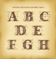 Vintage sketched alphabet set 1 vector image vector image