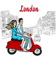 woman and man driving scooter in london vector image vector image