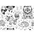 Woodland animals seamless pattern in monochrome vector image vector image