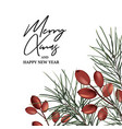 xmas modern invitation with fir branch and red vector image vector image