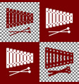 xylophone sign bordo and white icons and vector image vector image
