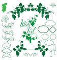 set of grapes silhouettes frames calligraphic vector image