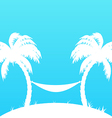 Tropical paradise background with palm trees and vector image