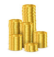 3d heap shining coins or realistic golden money vector image vector image