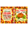 autumn harvest festival poster of thanksgiving day vector image vector image