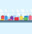 baggage belt conveyor travel suitcases on airport vector image vector image