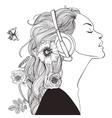 beautiful girl with headphones vector image vector image