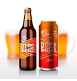 Beer bottle and can vector image vector image