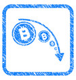 bitcoin reduce trend framed stamp vector image vector image