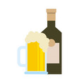 bottle and beer glass beverage isolated design vector image vector image