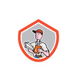 Builder Carpenter With Plans Shield Cartoon vector image vector image
