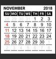 calendar sheet november 2018 vector image vector image