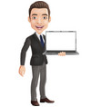 cartoon happy young businessman holding a laptop vector image vector image