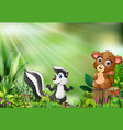 cartoon of the nature scene with a baby bear sitti vector image vector image