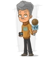 Cartoon TV journalist with microphone and recorder vector image