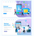 cellular communication and online payment website vector image vector image