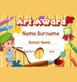 certificate template for art award with kid