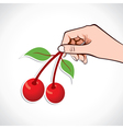 Cherry in hand vector image