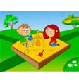 children in sandbox vector image vector image