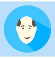 Color balding smiles flat icon man face vector image