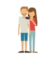 couple with shorts man and woman take selfie vector image