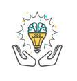 creative idea - light bulb and brain icon vector image vector image