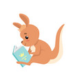 cute baby kangaroo sitting and reading book brown