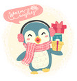 cute blue happy penguin wear scarf and bring gift vector image vector image
