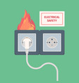 damaged electric socket fire on electricity plug vector image